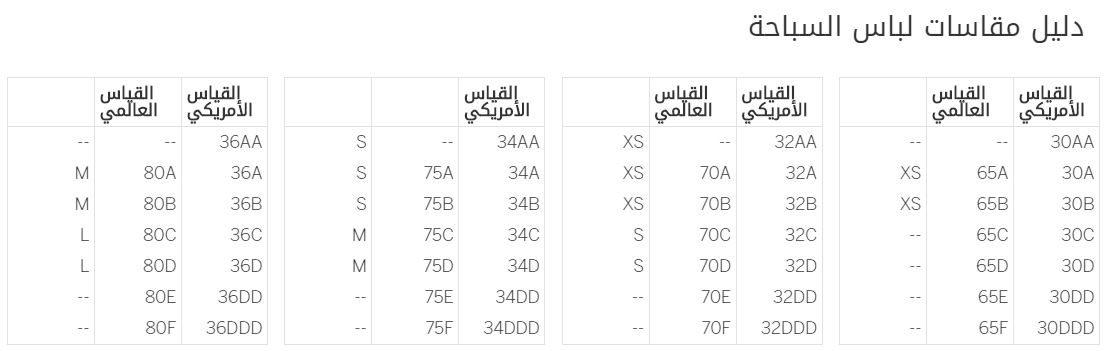 دليل قياسات victoriassecret pink علي لباس السباحة